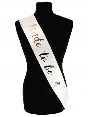 White With Champagne Diamond Ring 'Bride To Be' Sash