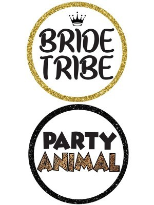 Bride Tribe & Party Animal, Double-Sided PVC Round Photo Booth Word Board Signs
