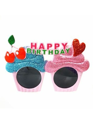 Happy Birthday Cup Cakes with Cherries & Heart Birthday Glasses