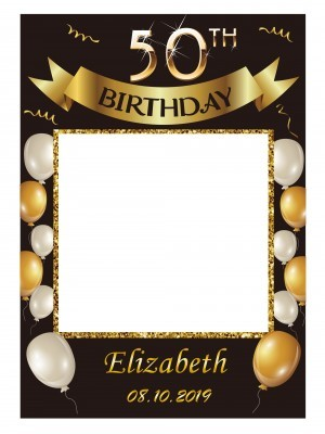 CUSTOM Black & Gold with Balloons and Banner Fully Printed Posing Frame