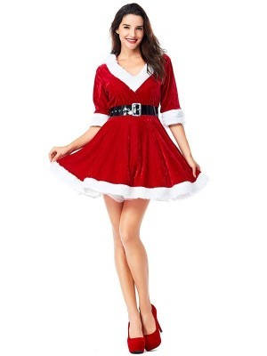 Cute Mrs Claus Red Skater Dress Fancy Dress Christmas Costume