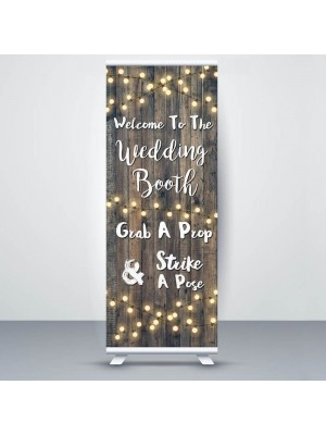 Dark Rustic Wood With Fairy Light 'Wedding Booth' Pop Up Roller Banner