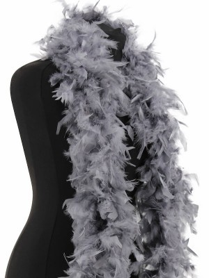 Deluxe Dark Silver Grey Feather Boa – 100g -180cm