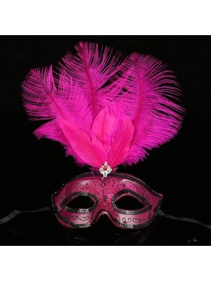 Ultimate Feathered Burlesque Masquerade Mask in Hot Pink