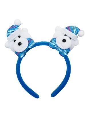 Double Blue Polar Bear With Glitzy Bow Tie Christmas Headband