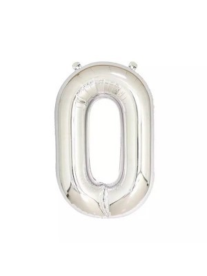 Extra Large size 40 Inch Inflatable Silver Balloon Number 0