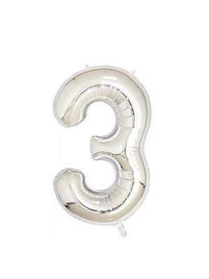 Extra Large size 40 Inch Inflatable Silver Balloon Number 3