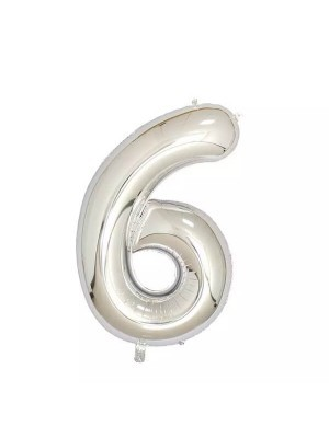 Extra Large size 40 Inch Inflatable Silver Balloon Number 6