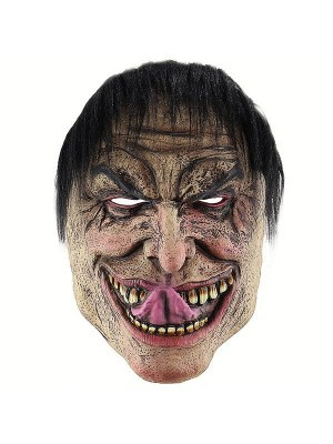 Creepy Evil Man Mask With Tongue Halloween Fancy Dress Costume