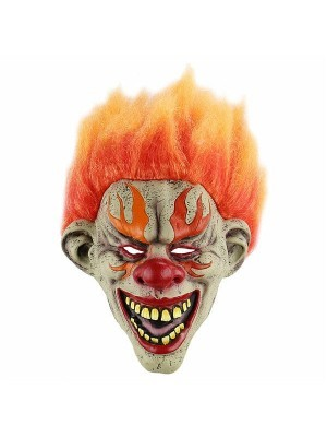 Fiery Evil Clown Mask Halloween Fancy Dress Costume