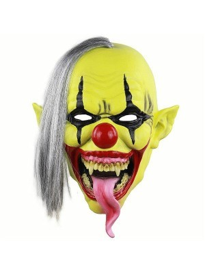 Yellow Faced Crazed Clown Mask Halloween Fancy Dress Costume