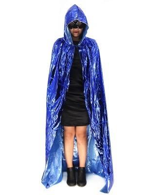 Fancy Dress, Costume Long Adult Shiny Blue Cloak
