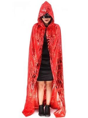 Fancy Dress, Costume Long Adult Shiny Red Cloak