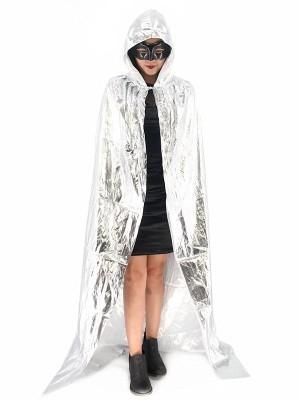 Fancy Dress, Costume Long Adult Shiny Silver Cloak