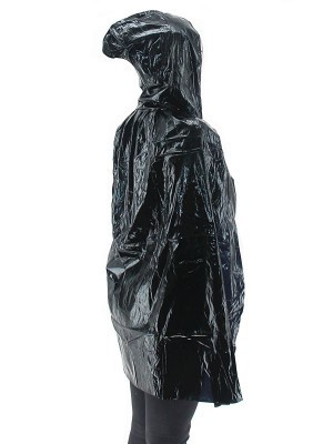Fancy Dress, Costume Short Adult Shiny Black Cloak