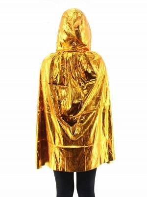 Fancy Dress, Costume Short Adult Shiny Gold Cloak