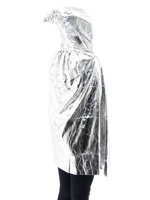 Fancy Dress, Costume Short Adult Shiny Silver Cloak