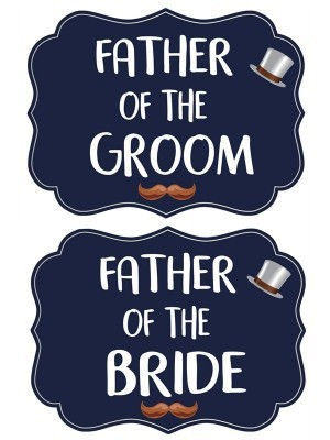 Father Of The Groom & Father Of The Bride, Double-Sided PVC Wedding Photo Booth Word Board Signs