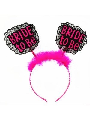 Lace 'Bride to Be' Black and Hot Pink Headband