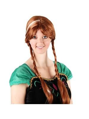 Brown Plaited Princess Wig