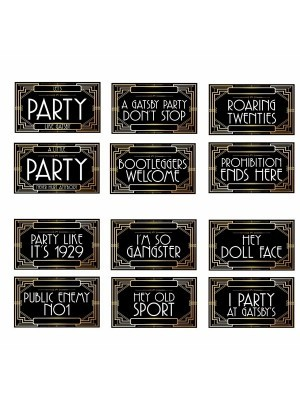 Set of 6 PVC Double-sided Great Gatsby Themed Photo Booth Props