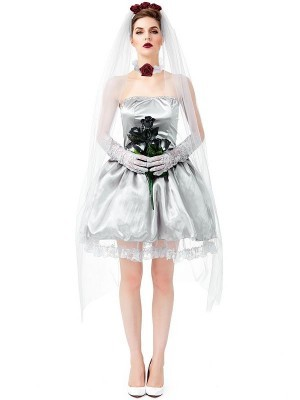 Ghost Bride Short Wedding Dress Women's Halloween Costume
