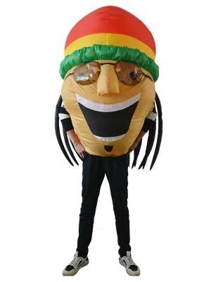 Giant Happy Rasta Dreadlock Jamaican Bobble Head Inflatable Fancy Dress Costume