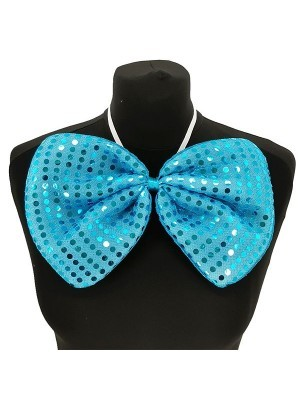 Giant Sequin Bow Tie in Blue