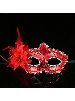 Glamorous Sequin Flowered Masquerade Mask In Red