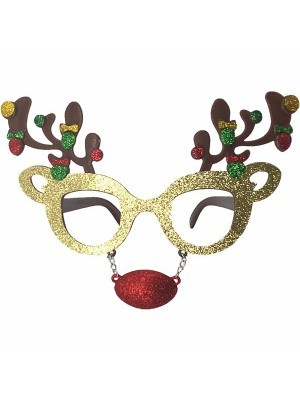 Glitzy Reindeer Antlers & Nose Attachment Christmas Glasses