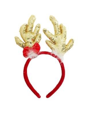 Gold Glitzy Sequin Reindeer Antlers Headband