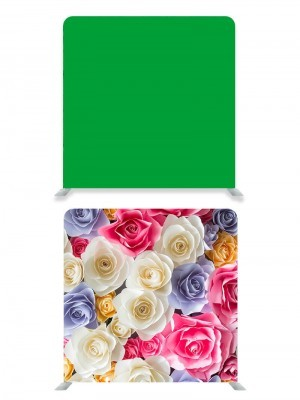 8ft*8ft Green Screen and Pretty Coloured Flowers Backdrop, With or Without Tension Frame