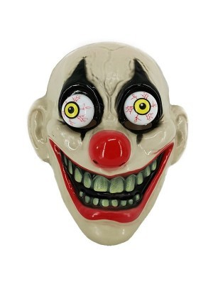 Crazed Laughing Clown with Bulging Eyes Face Mask Halloween Fancy Dress Costume