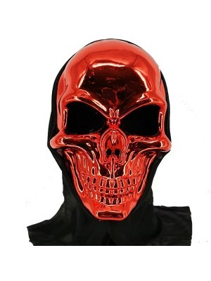 Evil Skeleton Grim Reaper Style Head Mask Halloween Fancy Dress Costume – Red