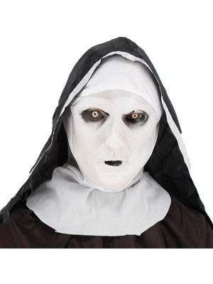 Ghostly Nun Head Mask Halloween Fancy Dress Costume