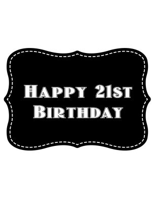 'Happy 21st Birthday' Vintage Style Photo Booth Prop