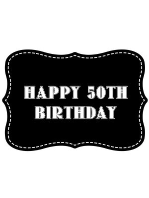'Happy 50th Birthday' Vintage Style Photo Booth Prop