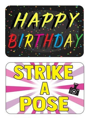 Happy Birthday & Strike A Pose, Double-Sided PVC Rectangle Photo Booth Word Board Signs