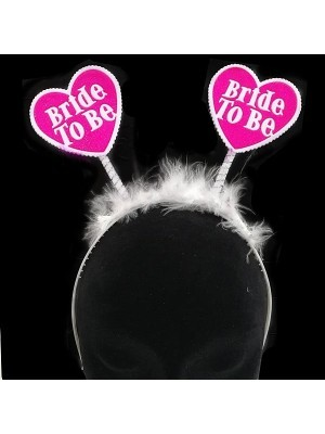 Heart 'Bride to be' White and Pink Feather Headband