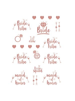 Hen Party Rose Gold Foil Variety Tattoo Pack