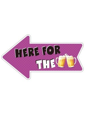 'Here For The Beer' Arrow Word Board Photo Booth Prop