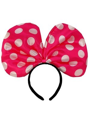 Large Mouse Style Dark Pink Dot Bow