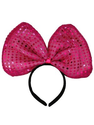 Large Hot Pink Sequin Bow Headband