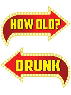 How Old? & Drunk, Double-Sided PVC Vegas Arrow Photo Booth Word Board Signs
