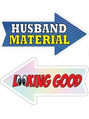 Husband Material & Looking Good, Double-Sided PVC Arrow Photo Booth Word Board Signs