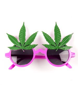 Funny Green Weed Leaf Sunglasses