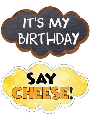 It's My Birthday & Say Cheese, Double-Sided PVC Cloud Photo Booth Word Board Signs