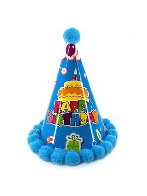 Kids Dark Blue Cake and Gifts 'Happy Birthday' Paper Hat