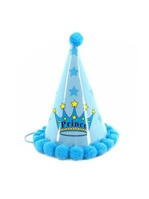 Kids Light Blue Crown & Stars 'Prince' Paper Hat
