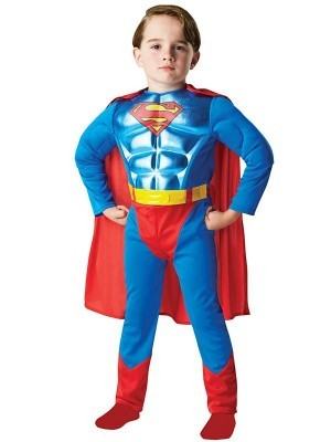 Kids Metallic Chest Superman Fancy Dress Costume
